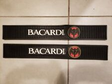 "Two Bacardi 23.5"" x 3.5"" Black Rubber Bar Spill Mat Mats With Bat Logo"