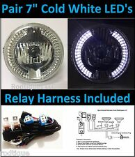 "7"" Headlights w/ 36 Led Cold White Running Lights + Relay Harness Drl Cold White"