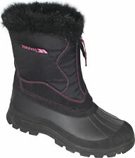Trespass  Zesty Womens Waterproof Snow Boots in Black with Fur