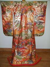 Gold & Red Silk Japanese Uchikake Wedding Kimono w/ Treasure Carts