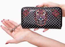 Banned Apparel Dia De Los Muertos Punk Sugar Skull Roses Womens Wallet WT1473