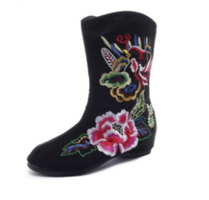 Women's Ethnic Style Embroider Zipper Round Toe Mid-Calf Boots Fashion Flats New