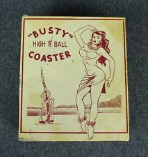 Vintage Mid_Century Busty High Ball Coaster Set Of 4 Novelty Risque Funny