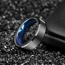 4/6mm Black Tungsten Blue Inlay Ring Brushed Polished Men's Wedding Couple Band