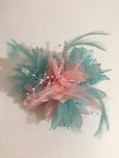 Baby Blue and Baby Pink Fascinator on Clip Pin Hairband Feathers Laces Beads