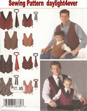 Boys & Men Vest & Tie Sewing Pattern 4762 Simplicity New Western/ Classy Look #k