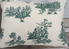 """Green French Toile Designer Farbric Pillow Cushion Cover 100% cotton 12""""x 16""""#6"""