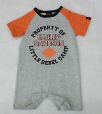 Harley-Davidson Newborn Boys Gray Little Rebel Camp One Piece Romper 0-3 Months