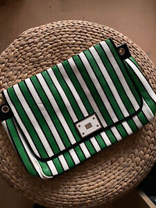 Authentic Anya Hindmarch Designer Green White Stripe Handbag Satchel Bag BNWOT