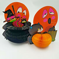 Beistle Vintage Halloween Accordian Honey Comb Fold Out Pumpkin Witch Cat Moon