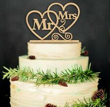MR MRS WEDDING CAKE TOPPER Wooden Hearts Wood Rustic Country Sign Decoration