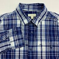 Sonoma Button Up Shirt Men's Medium Long Sleeve Blue White Plaid Casual Cotton