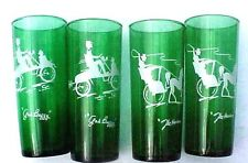 """Unique 4 Green Tall Glasses 2 are The Hansom & 2 are The Gas Buggy  6 1/2"""" High"""