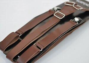 Men Adult 25mm Wide Brown Faux Leather Adjustable Design Suspenders Braces