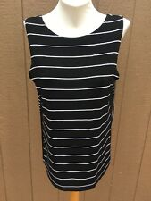 New Chico's Travelers Mixed Stripe Black & White Tank Top Sz 2 L Large 12 14 NWT