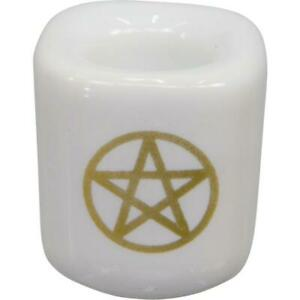 """White Gold Pentagram Mini 1/2"""" Chime Candle Holder Ritual Candle Altar"""