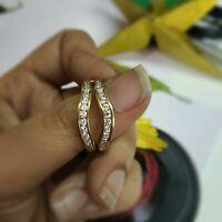 14K Yellow Gold GP 0.50 Ct Diamond Chanel set Enhancer Wedding Band Wrap Ring