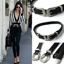 Womens Double Buckle Thick Quality Faux Leather Western Belt Ladies Waistband