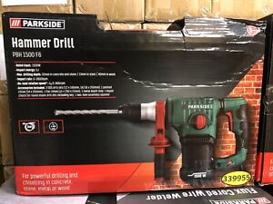 Parkside SDS Plus Corded Hammer Drill 1500 W Bits & Carry Case. PBS 1500 F6
