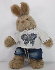 "Brown Bunny Rabbit Build a Bear Bohemian Hippie Clothes 17"" Plush Stuffed TALKS"