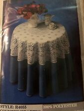 "Vintage Lace Table Topper Country Hearts New 42"" Round USA Made"