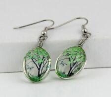 Women Handmad Green Real Dry Butterfly Tree Flower Earring, Dry Flower Earring