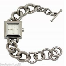 ARMANI EXCHANGE SILVER TONE CHAIN LINK+SQUARE WHITE DIAL BRACELET WATCH AX4024