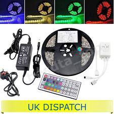 Full Kit Set Plug & Play 5M 300 LED RGB Light Strip Tape + Remote & 12V UK Plug