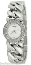 NEW GUESS CHAIN LINK SILVER TONE BAND+PAVE CRYSTAL BEZEL BRACELET WATCH U11662L1