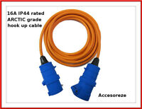 10m metre hook up cable lead extension - caravan camping tent motor home orange