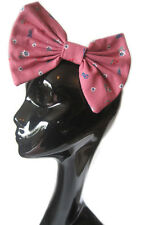 BIG LARGE HAIR BOW - DUSTY PINK FLORAL HAIR CLIP INDIE GRUNGE 50S FASHION