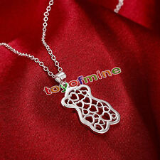 New Charm 925 Silver Plated Love Hearts & Bear Pendant Necklace Jewelry