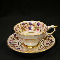 Royal Stafford Golden Bramble Footed Cup & Saucer Blackberries w/Gold 1950's