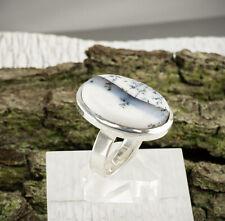 Dendriten Opal Ring Sterlingsilber/925 Cabochon Weiss Schwarz Grösse 60(19,1 mm)