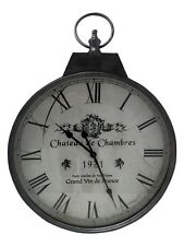 80cm Extra Large Wall Clock French Silver Vintage Pocket Watch Shabby Chic Retro