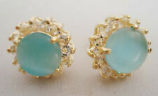 Sky-blue Opal Yellow Gold Plated Crystal Stud Earrings