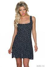 Sexy Träger Minikleid Strechtkleid Sexy Kleid geblümt Blumen Schwarz 34 36 38