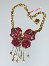 Betsey Johnson Pink Glitter 3d Butterfly Colorful Crystal Statement Necklace