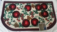 """RARE EGYPTIAN PRINTED KITCHEN RUG (18"""" x 30""""), LOTS of APPLES, D Shaped"""