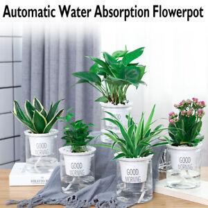 Indoor Clear Self Watering Plant Flower Pot Plastic Flower Pot Planter Garden A+