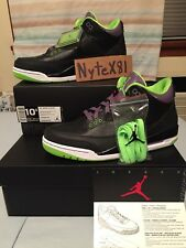 "NIKE AIR JORDAN 3 III RETRO ""JOKER"" BLACK GREEN PURPLE 10.5 DS 2013 136064 018"