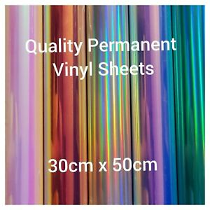 PERMANENT  vinyl cricut adehesive sheets holographic glitter  30cm x 50cm NEW