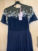 Ted Baker LEMUNO Pearl Pleated Culotte Jumpsuit Dress Size 4 UK 14 US 10