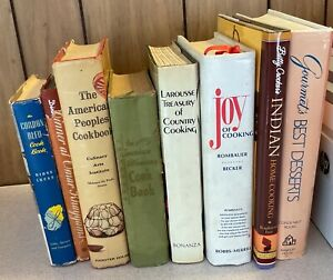 Vintage & Classic lot of 8 hardcover COOKBOOKS 1950s-2000s FREE SHIP