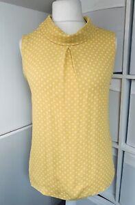 Kew 159 BNWT Yellow Top Size 14 Spotty Polka Dot Sleeveless High Neck