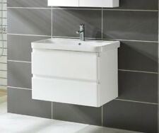800 Wall Hung Bathroom Vanity Unit Ceramic Basin 2 Drawers White Gloss Cabinet