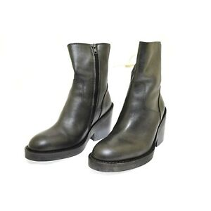 Ann Demeulemeester Women's Boots Leather Silver Pewter Metallic Euro 39