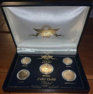 2000 PRESIDENTIAL 24KT GOLD PLATED US 5 COIN SET