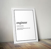 Engineer definition, print, poster, Quote, wall art, gift, picture, office