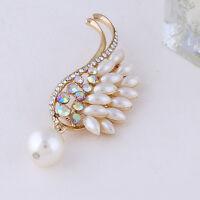 Angel Wing Pearl Pendant Brooch Pin Crystal Rhinestone Bridal Wedding Corsage